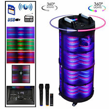 beFree Bluetooth Portable DJ Party Speaker  with 360 Degree Sound, Lights 2 Mics