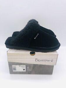 BEARPAW Women's Loketta Slip On Slippers Black Leather US 6M / EUR 37