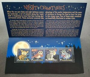 [SJ] Singapore Night Creatures 2003 Owl Bird Leopard Pig (p.pack) MNH