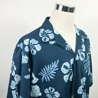 NWT RJC Mens 2XL Hawaiian Aloha Shirt Blue Batik Floral 100% Cotton USA Made