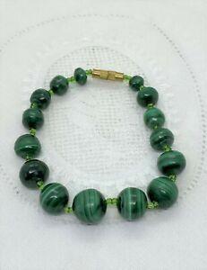 Very Nice Vintage Malachite & Glass Bead Bracelet. D128
