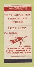 Matchbook Cover Industrial Heat Treating Indianapolis IN aircraft WEAR 30 Strike