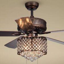 Crystal Chandelier Ceiling Fan Light Fixture Rustic Bronze Farmhouse Lighting