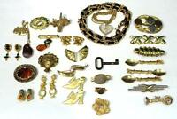 Group of Gold-Tone Metal Costume Jewelry Lot 89
