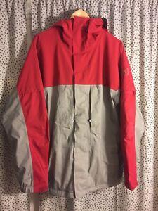 Burton AK Gore Tex Jacket 🔥 Large Red Grey Zip Snow Ski VTG