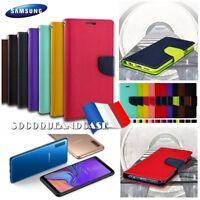 Etui Folio housse coque Cuir PU Leather Mercury Case Samsung Galaxy A7, A9 2018