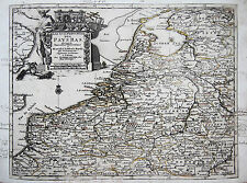 van der Aa: Original Kupferstich Landkarte Belgien Niederlande Luxemburg; 1714