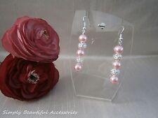 Elegant Pale Pink Glass Pearl Silver Bead Pierced Earrings Mia Weddings Bride