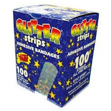 "GLITTER BANDAIDS CHILDREN ADHESIVE STRIPS 3/4x3"" 100/BX, NEW"