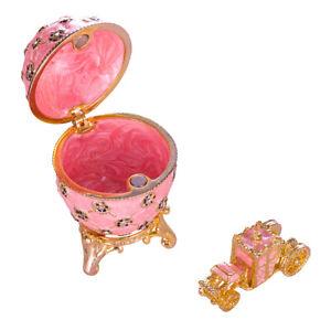 Russische Fabergé Ei / Schmuckkästchen Krönungs Ei mit Kutsche 6,5 cm rosa
