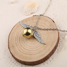 Golden Ball Silver Wings Magic Wizard Snitch Chain Necklace Pendant Witch