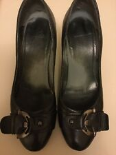 "Black Leather Court Shoes With Buckle Detail 4"" Wooden Effect Heel Size 40 UK 7"