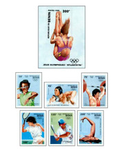 BEN9507 Jumping into the water, Atlanta Olympic block and 6 stamps