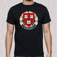 New Harvard Famous University Logo Men's Black T-Shirt Size S to 3XL