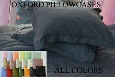 "PILLOW CASE linen OXFORD with 2"" flange-body pillow pre wash linen pillowcase"
