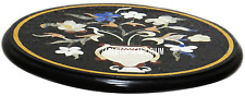"12"" Marble Side Table Top Mosaic Inlaid Pietradura Garden Furniture Garden Decor"