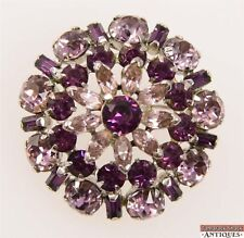 Vintage Signed Sherman Silver Toned Pin Brooch Rhinestones Light Dark Purple
