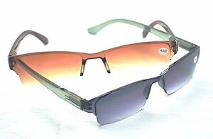 MT60 Sun Readers Mens Womans Gradient Reading Glasses Grey or Brown Frames