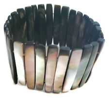 Gray Iridescent Shell Shards Stretchy Bracelet - 6.5 inch