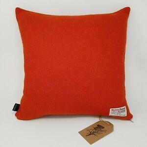 ORANGE Autumn plain Harris Tweed Wool Cushion Cover genuine handmade