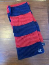 VTG Abercrombie & Fitch Red Navy Striped Wool Knit Scarf Unisex EUC