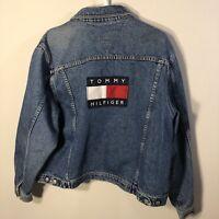 9cc5a663eb9 Tommy Hilfiger Jeans Big Spell Out Logo Denim Jacket XL Vtg 90s USA Flag  Blue