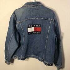 Tommy Hilfiger Jeans Big Spell Out Logo Denim Jacket XL Vtg 90s USA Flag Blue