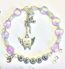 HANDMADE PERSONALISED NAME TOOTH FAIRY BRACELET Girls Pillow gift in bag