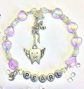 HANDMADE PERSONALISED JEWELLERY : NAME TOOTH FAIRY BRACELET Pillow gift in bag