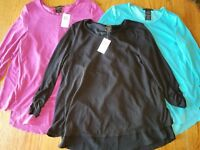 Nwt Grace Elements 3/4 Sleeve Top Layered Shirt Purple Aqua Black XL 2XL M L S