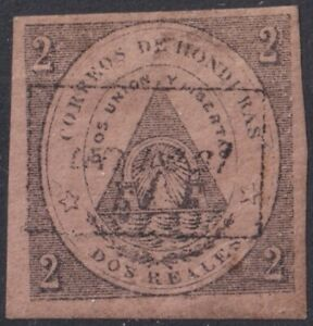 F-EX23679 HONDURAS 1877 No.5. 550€ SURCHARGE UN REAL s 2 REALES 2 EXPERTIZED