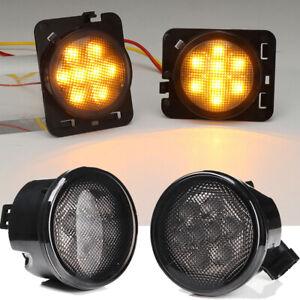 Smoked Lens LED Front Turn Signal Side Marker Fender Lights for Jeep Wrangler JK