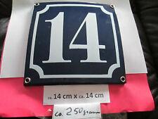 Hausnummer Emaille Nr. 14 weisse Zahl auf blauem Hintergrund 14 cm x 14 cm #