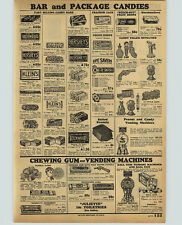 1932 PAPER AD Gum Ball Vending Machine Peanut Candy Bars Milk Nut Snicker's ++