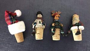 4 Christmas Themed Wine Bottle Topper Stopper Santa Snowman Hat Reindeer
