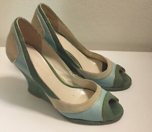 Women's Vintage Suede Peep Toe 3 Colour High Wedge (size 38/7.5)