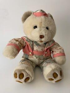 "Vintage ? Cuddle Wit Teddy Bear Pink Corduroy Beanie Hat Floral Shirt 18"""