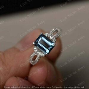2 Ct Emerald Cut Aquamarine & Diamond Engagement Pretty Ring 14K White Gold Over