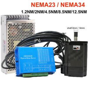 Nema23 Nema34 Closed-loop Stepper Motor 1.2Nm~12.5Nm Hybrid Servo Driver CNC Kit