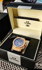 Used TW STEEL CEO KINVANC CE4003 Chronograph Watch rose gold,blue leather strap