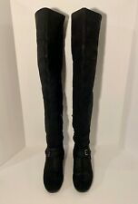 Christian Dior Black Leather High Tall Flat Shoes Over Knee Boots Size 9.5