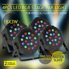 4 PCS ILLUMINAZIONE DA PALCO LED PAR64 DMX 54 W 18 LED da 3 W compatti DMX RGB