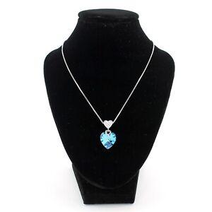 Fashion Elegant Rhodium Plated Necklace With Blue Heart Swarovski Pedant Xuping