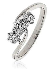 Genuine Diamond 3-stone Crossover Ring 0.50ct Brilliant Cut F VS 18ct White Gold