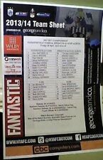 HUDDERSFIELD TOWN v BRIGHTON AND HOVE ALBION 2013-2014  A4 COLOUR TEAM SHEET