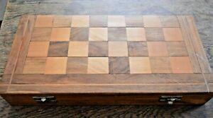 Wooden Staunton Chess Set + Polished Wooden Board Box VGC.