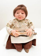 """Usa-Made Hand-Sculpted 9"""" Tall Doll Playing Mountain Dulcimer by Debbie McIntyre"""