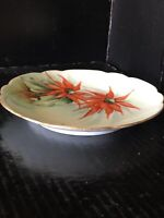"Vintage Pedestal  6"" Plate Poinsettia Floral Porcelain Signed Peters Gilded Xmas"