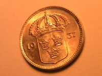1937 SWEDEN 10 Ore Lustrous Gem Toned BU Swedish Ten Ore Sverige Silver Coin