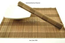 4 Handmade Bamboo Wood Placemats Tableware Table Mats, Black-Brown, P009
